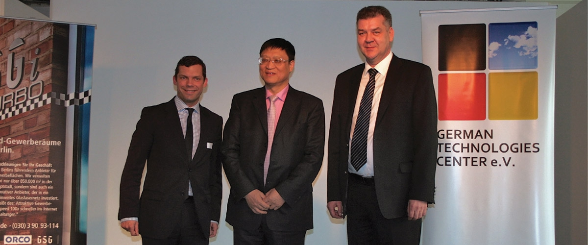 Host Sebastian Blecke (COO, GSG Berlin, left) and Prof. Ulf Stremmel (GTC, right) welcomed Chen Xianjin and his delegation (center) warmly to Berlin.